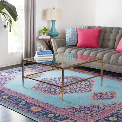 Fredonia Tibetan Pink/Blue Area Rug Rug Size: Rectangle 53 x 73