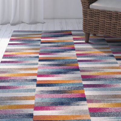 Andover Orange/Blue Area Rug Rug Size: 311 x 57