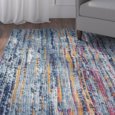 Andover Blue/Orange Area Rug Rug Size: 93 x 126
