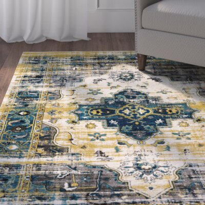 Koh Blue/Black Area Rug Rug Size: Rectangle 53 x 76