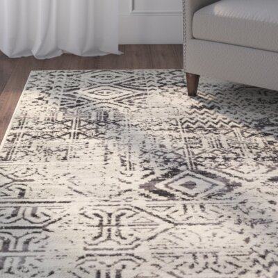 Puran Gray/Cream Area Rug Rug Size: 810 x 129