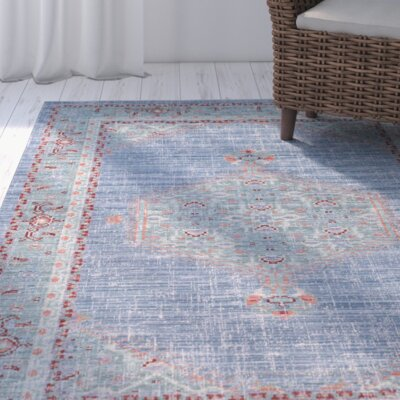Fields Blue / Green Area Rug Rug Size: 53 x 76