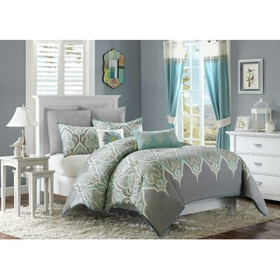 Marlee 5 Piece Duvet Cover Set Size: Full / Queen, Color: Teal