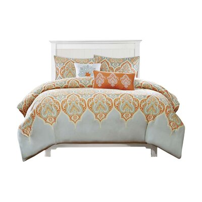 Destan 5 Piece Duvet Cover Set Size: Full / Queen, Color: Orange