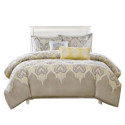 Marlee 5 Piece Duvet Cover Set Size: Full / Queen, Color: Yellow