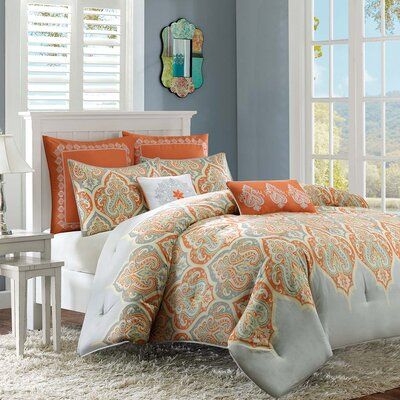Destan Reversible Comforter Set Size: King / California King, Color: Orange