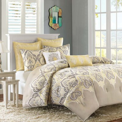 Destan Reversible Comforter Set Size: Twin, Color: Yellow
