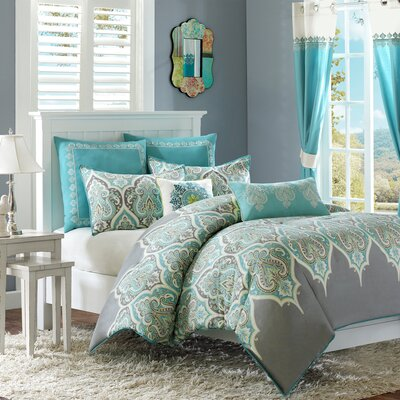 Destan Reversible Comforter Set Size: Twin, Color: Teal