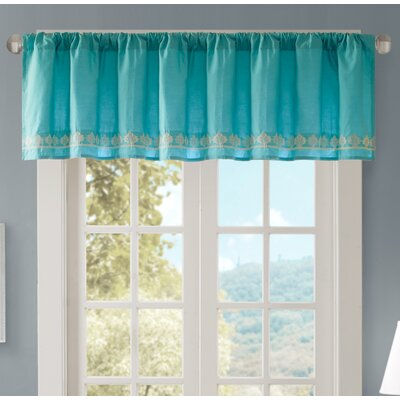 Marlee Embroidered 50 Light-filtering Curtain Valance Color: Teal