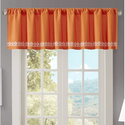 Marlee Embroidered 50 Light-filtering Curtain Valance Color: Orange