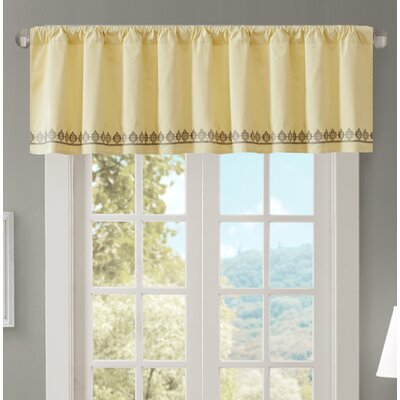 Marlee Embroidered 50 Light-filtering Curtain Valance Color: Yellow