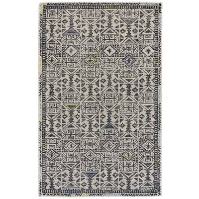 Bedford Hand-Tufted Black/Line Area Rug Rug Size: Rectangle 5 x 8