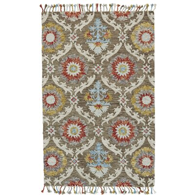 Fleurette Hand-Tufted Brick/Taupe Area Rug Rug Size: Rectangle 36 x 56
