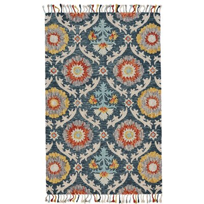 Fleurette Hand-Tufted Blue Ocean Area Rug Rug Size: Rectangle 36 x 56
