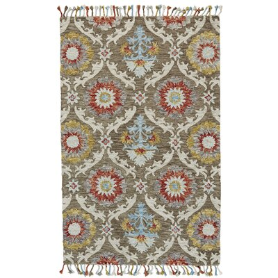 Fleurette Hand-Tufted Brick/Taupe Area Rug Rug Size: Rectangle 2 x 3
