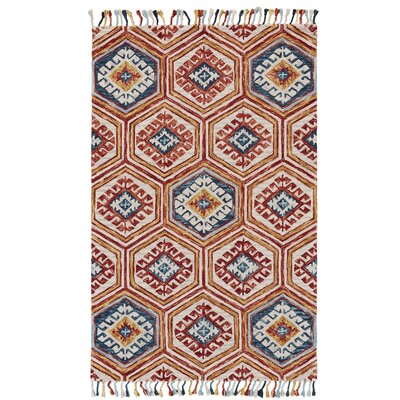 Florence Hand-Tufted Gold/Orange Area Rug Rug Size: 5 x 8