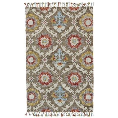 Fleurette Hand-Tufted Brick/Taupe Area Rug Rug Size: Rectangle 5 x 8
