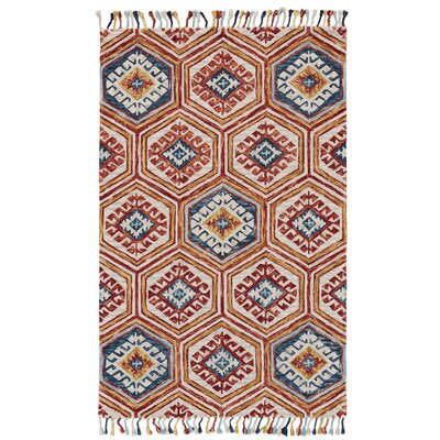Florence Hand-Tufted Gold/Orange Area Rug Rug Size: 8 x 11