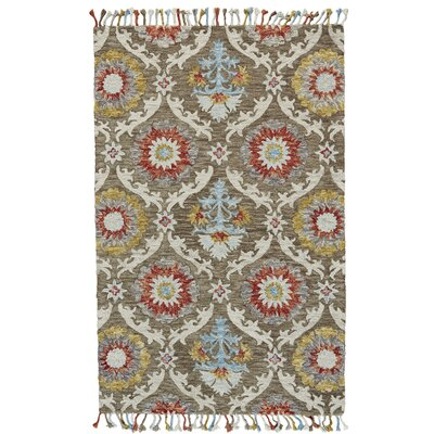 Fleurette Hand-Tufted Brick/Taupe Area Rug Rug Size: Rectangle 8 x 11