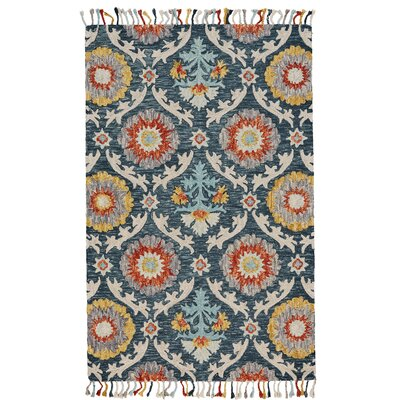 Fleurette Hand-Tufted Blue Ocean Area Rug Rug Size: Rectangle 5 x 8