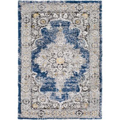 Lothrop Medium Gray/Dark Blue Area Rug Rug Size: 2 x 3