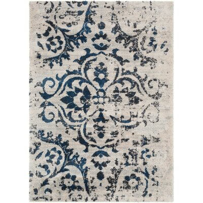 Lothrop Dark Blue/Black Area Rug Rug Size: 2 x 3
