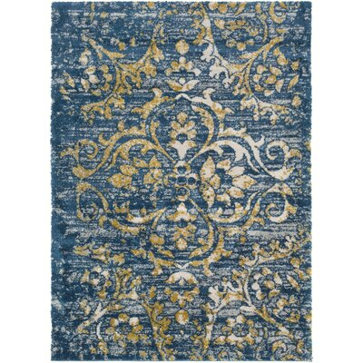 Ingram Dark Blue/Mustard Area Rug Rug Size: 2 x 3