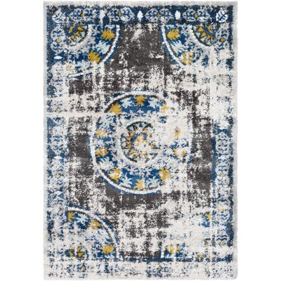 Ingram Oriental Dark Blue/Aqua Area Rug Rug Size: 53 x 73