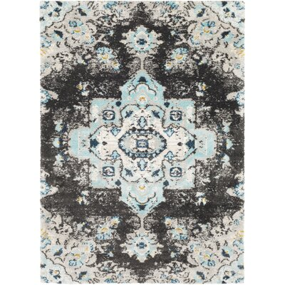 Ingram Black/Aqua Area Rug Rug Size: 710 x 103