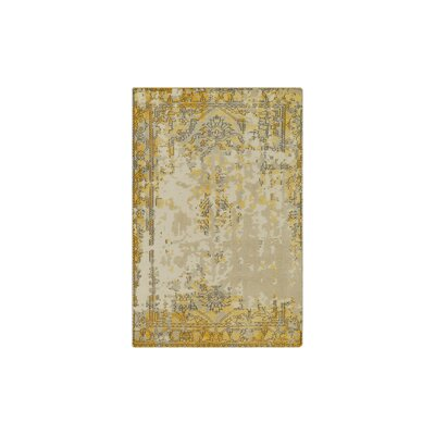 Jayden Hand-Knotted Bright Yellow/Taupe Area Rug Rug Size: 9 x 13