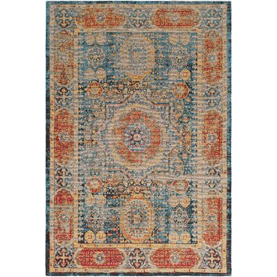 Hamza Hand-Woven Bright Blue/Saffron Area Rug Rug Size: Rectangle 5 x 76