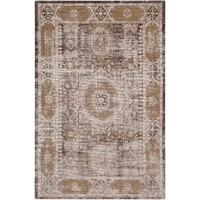 Hamza Hand-Woven Medium Gray/Dark Purple Area Rug Rug Size: Rectangle 5 x 76