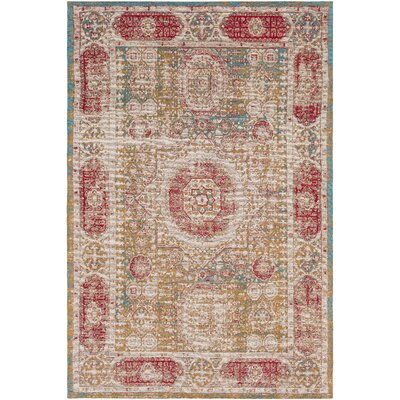 Hamza Hand-Woven Mustard/Bright Blue Area Rug Rug Size: Rectangle 5 x 76
