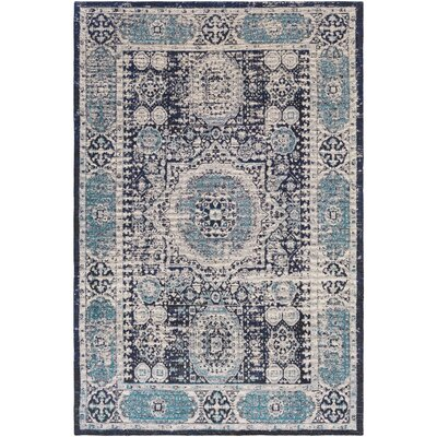 Hamza Hand-Woven Navy/Light Gray Area Rug Rug Size: Rectangle 5 x 76
