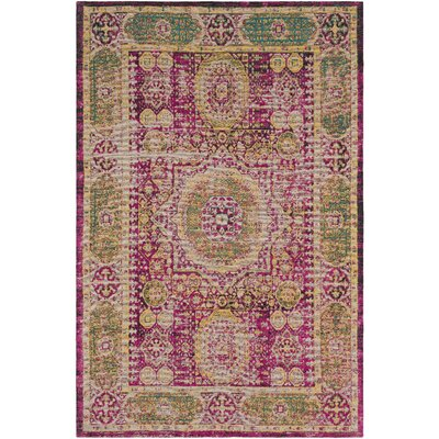 Hamza Hand-Woven Bright Pink/Saffron Area Rug Rug Size: Rectangle 5 x 76
