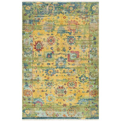 Makenna Hand-Knotted Bright Yellow/Grass Green Area Rug Rug Size: 9 x 13