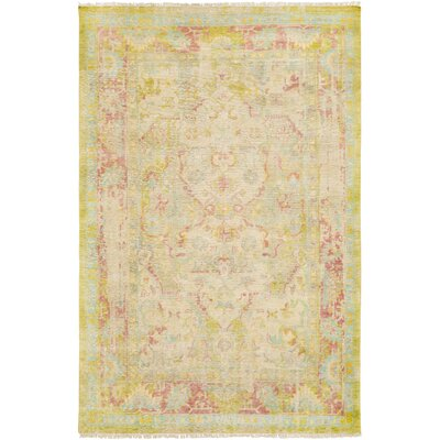 Makenna Hand-Knotted Lime/Aqua Area Rug Rug Size: Rectangle 9 x 13