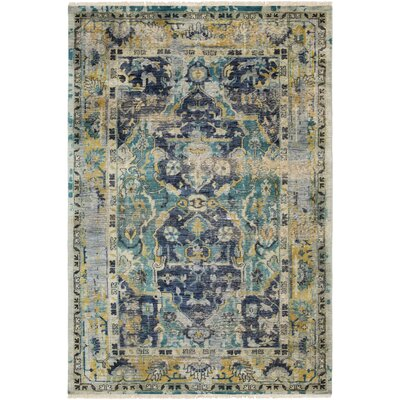 Makenna Hand-Knotted Navy/Teal Area Rug Rug Size: 9 x 13