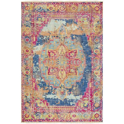 Makenna  Hand-Knotted Bright Pink/Mint Area Rug Rug Size: 9 x 13