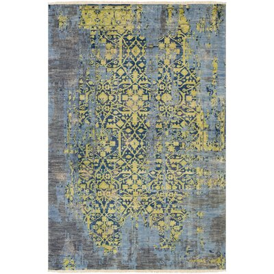 Makenna Hand-Knotted Lime/Denim Area Rug Rug Size: 6 x 9