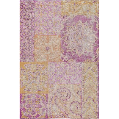 Knowland Hand-Tufted Bright Pink/Peach Area Rug Rug Size: 5 x 76