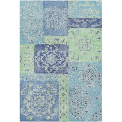 Knowland Hand-Tufted Denim/Teal Area Rug Rug Size: 8 x 10