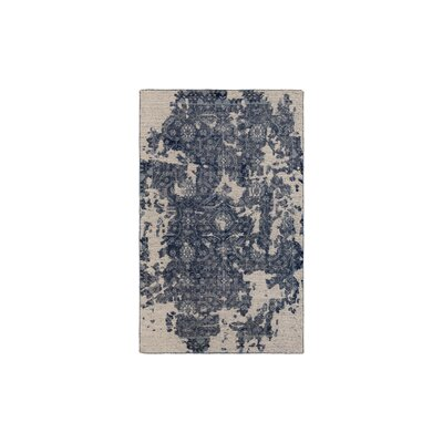 Gulshan Hand-Knotted Medium Gray/Navy Area Rug Rug Size: 2 x 3