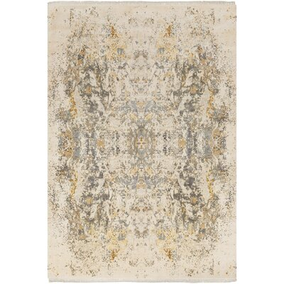 Daniella Hand-Knotted Medium Gray/Camel Area Rug Rug Size: 9 x 13