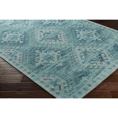 Hamza Hand-Woven Aqua/Teal Area Rug Rug Size: Rectangle 5 x 76