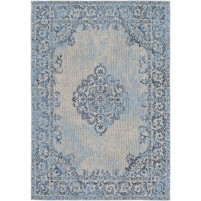 Payne Hand-Woven Sky Blue/Beige Area Rug Rug Size: Rectangle 5 x 76