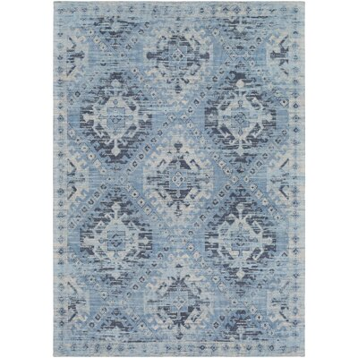 Hamza Hand-Woven Sky Blue/Navy Area Rug Rug Size: Rectangle 8 x 10