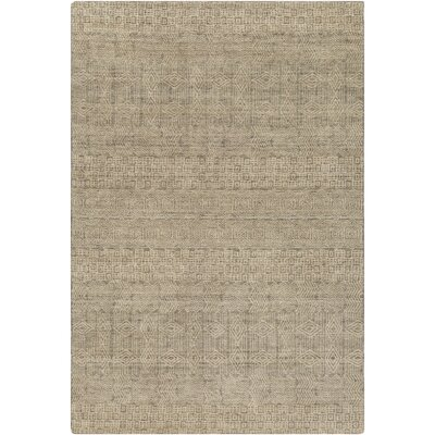 Ashton Hand-Knotted Dark Green/Beige Area Rug Rug Size: 9 x 13