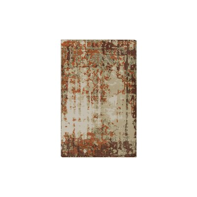 Gulshan Hand-Knotted Bright Orange/Dark Red Area Rug Rug Size: 2 x 3