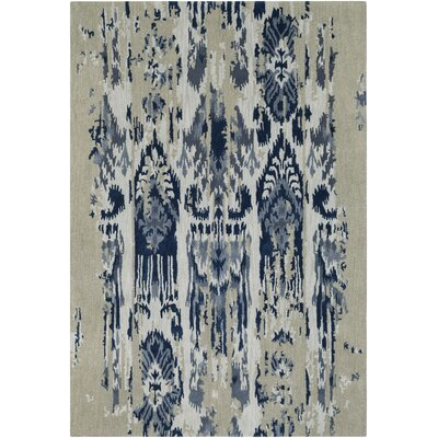 Corinne Hand-Tufted Medium Gray/Navy Area Rug Rug Size: Round 8'